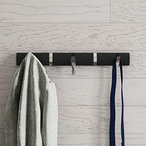 Lavish Home Wall Rail-Mounted Hanging Rack with 5 Retractable Hooks Storage Organization Decor for Coats Towels Bags and More Black