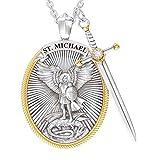 NMSLQ S t. Michael The Archangel Collar, Collar con Colgante de protección Senhield de Espada Divina, Collar con Colgante de Encanto, Regalo de joyería para Hombres y Mujeres (Quantity : 1pc)
