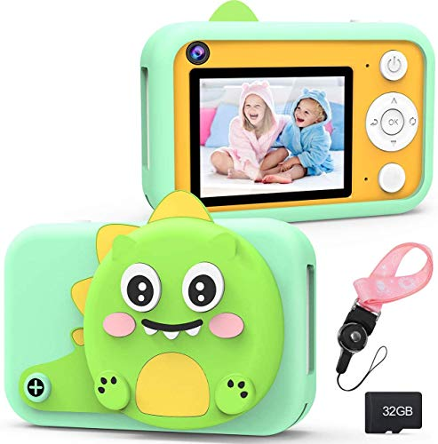 RenFox Kids Camera - 16MP Beginner Digital Camera Gifts for 3-12 Yeas Old Boys Girls, Rechargeable Shockproof 1080P Video Recorder Camcorder with 2.4' LCD Screen, 32GB SD Card & Cute Lens Cover