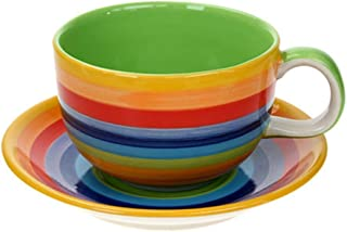 Windhorse Rainbow Striped Coffee Cup & Saucer - Extra Large (One Pint) (1 Piece)