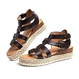 Sandalias Mujer Alpargatas Plataformas Romano Cuña Hebilla Gladiador Zapatos Verano Playa Punta Abierta Tacon 5.7cm Correa de Tobillo 5-Marrón-Oscuro EU41