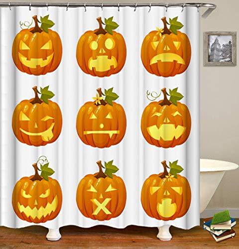 JYEJYRTEJ OldPumpkin Gemüselustiges Muster-Gelbgrün-Vorhang, der Simulation des Badezimmers 3D regnet