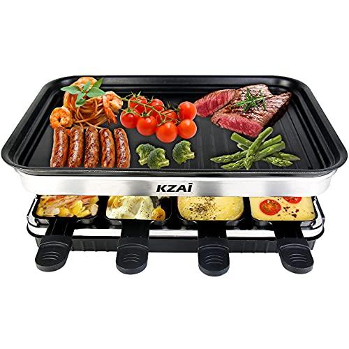 Raclette Grill mit Antihaftplatte, Raclette 8 Personen, Tischgrill Elektrisch mit 8 Pfännchen, Isolierte Griffe, Regulierbare Temperatur, 1500W