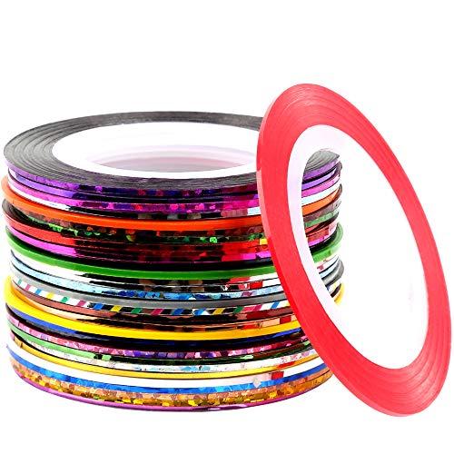 32 Colors Nail Striping Tape Line, FANDAMEI Multicolor Rolls Striping Tape Line Nail Art Decoration Sticker DIY Nail Tip