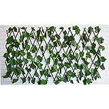 Hogar y Mas Jardin Vertical, celosia Extensible Hiedra Artificial con Estructura de Madera Natural para Decoración Realista.