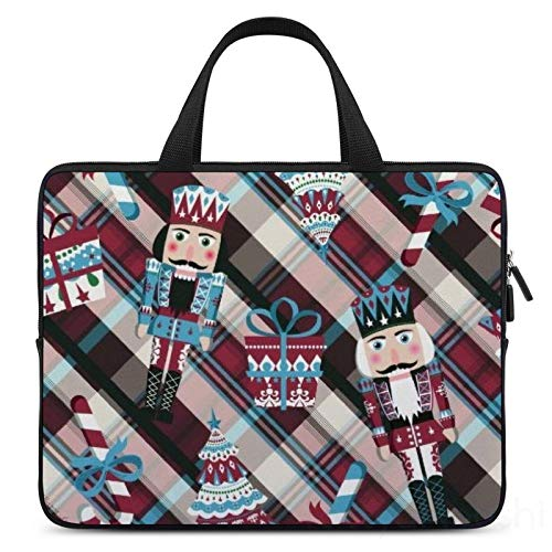 12 Inch Laptop Sleeve Christmas Nutcracker Plaid Blue Burgundy Case/Water-Resistant Notebook Computer Pocket Tablet Briefcase Carrying Bag/Pouch Skin Cover For Acer/Asus/Dell/Lenovo