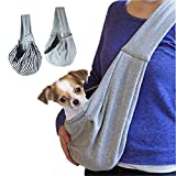 GHIFANT Dog and Cat Sling Carrier Little Pet Carrier Shoulder Crossbody Pet Slings for Outdoor Traveling Subway (Gray)