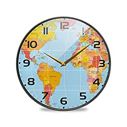 ZOEO Map Large Wall Clocks Vintage Battery Operated World Country Map Non Ticking 12 inch Clock Silent Art Bedroom Kitchen Clock Atomic Analog Clocks Home Decor for Kids