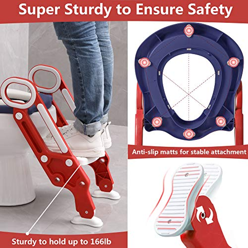 Potty Training Toilet Seat with Step Stool Ladder for Kids Children Baby Toddler Toilet Training Seat Chair with Soft Cushion Sturdy and Non-Slip Wide Steps for Girls and Boys (Blue Red)