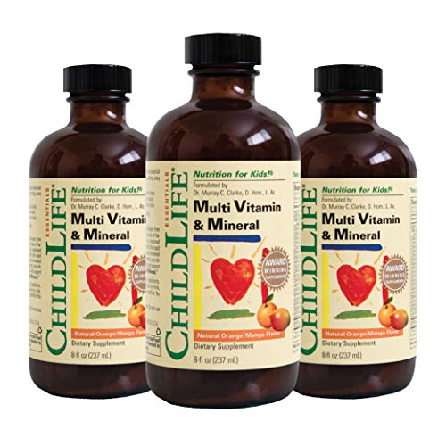 ChildLife Essentials Multi Vitamin and Mineral for Infants, Babys, Kids, Toddlers, Children, and Teens Natural Orange/Mango Flavor, 8 Ounce (Pack of 3)