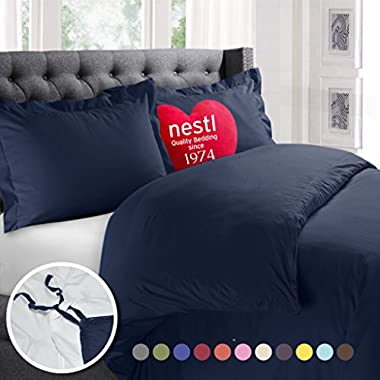 Nestl Bedding Duvet Cover, Protects and Covers your Comforter/Duvet Insert, Luxury 100% Super Soft Microfiber, Queen Size, Color Navy Blue, 3 Piece Duvet Cover Set Includes 2 Pillow Shams