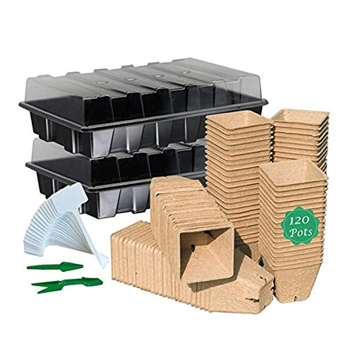 CQWW 4 bandejas de germinación con tapa, etiqueta para plantas y herramientas, bandejas de cultivo para el cultivo de plantas germinales, macetas con muchos accesorios y 120 macetas de cultivo