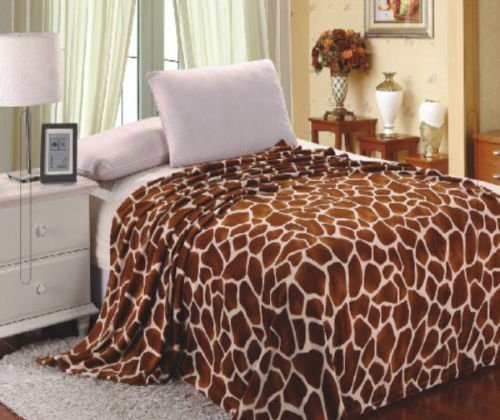 Home Must Haves Ultra Soft Micro Plush Luxurious Flannel Fur All Season Premium Bed Blanket Twin 75quotx80quot Giraffe Skin Print Brown and Beige