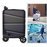 Zdcdy Smart Riding Scooter Valise, Portable Chariot Case Vélo Électrique avec Valise Rétractable Rod, Électrique Bagages Voiture avec Amovible d'alimentation, Charge de 90Kg, 28L,Black