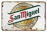 Asher - Placa decorativa de pared retro con signo de estaño metálico de San Miguel y signo de Barra, ideal para carteles de clubes de cerveza familiar, tamaño 20 x 30 cm