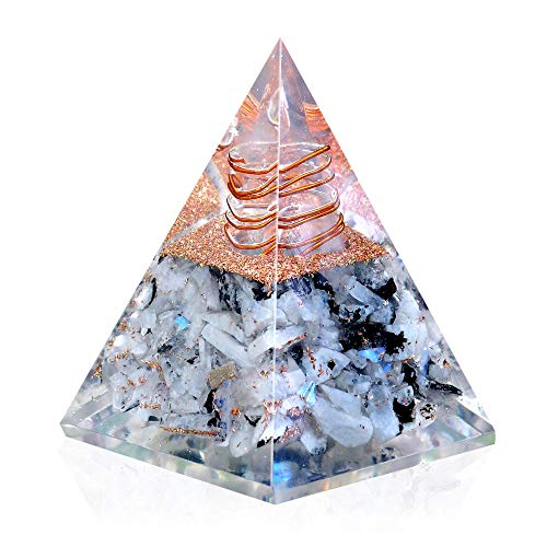 New Inspirational Orgonite Pyramid for Success | Rainbow Moonstone Orgone Pyramid for Anti-stress - Calmness – Growth – Strength – Healing Crystal Gemstone Pyramid