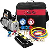 XtremepowerUS 4CFM Air Vacuum Pump HVAC A/C Refrigeration Kit AC Manifold Gauge Set w/Leak Detector
