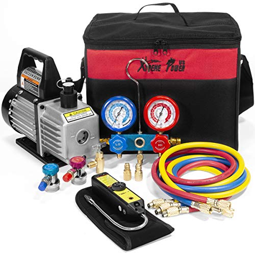 XtremepowerUS 4CFM Air Vacuum Pump HVAC A/C Refrigeration Kit AC Manifold Gauge Set w/Leak Detector