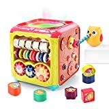 CUTE STONE Baby Activity Cube Toys,6 in 1 Multifunctional Learning Cube Toy with Music & Light,Shape Sorter,Play Drum and Gears,Baby Early Educational Play Cube Gift for Infant Kids Boys Girls
