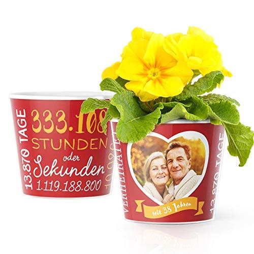 38. Hochzeitstag Geschenk – Blumentopf (ø16cm) | Geschenkidee zur Feuerhochzeit für Mann oder Frau mit Herz Bilderrahmen für 1 Foto (10x15cm) | Glücklich Verheiratet - 38 Jahre