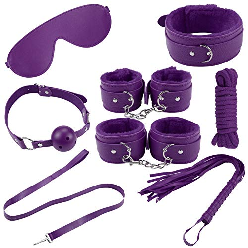 BATEER 8PCS Leather Plush Handcuffs Set Adult Whip Pleaser Toys for Couples