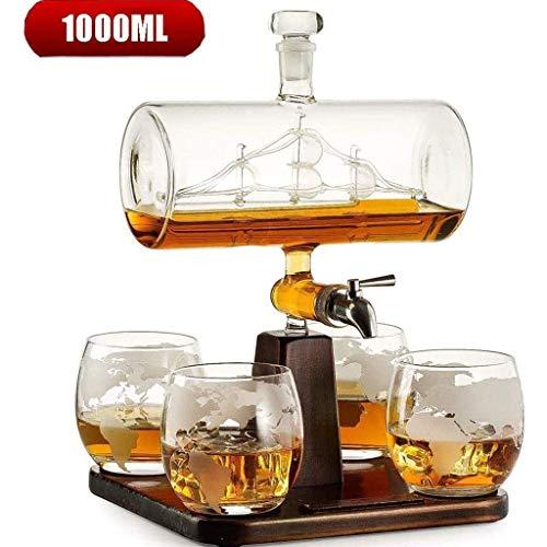 WANGIRL Decantador de Whisky de 1000 ml con la Nave de Vino de la Nave Antigua fijada para Licor, escocés, Bourbon, Vodka con 4 Gafas de Globo dispensador de Bebidas LOLDF1