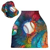 野球アートベビーカーシートカバー、キャノピー看護カバー、幼児の授乳の男の子のためのソフト通気性防風スカーフチェンジパッド