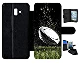 Etui a Rabat - Ballon de Rugby - Compatible avec Samsung Galaxy J6+ (2018) - Plastique - Bord Noir