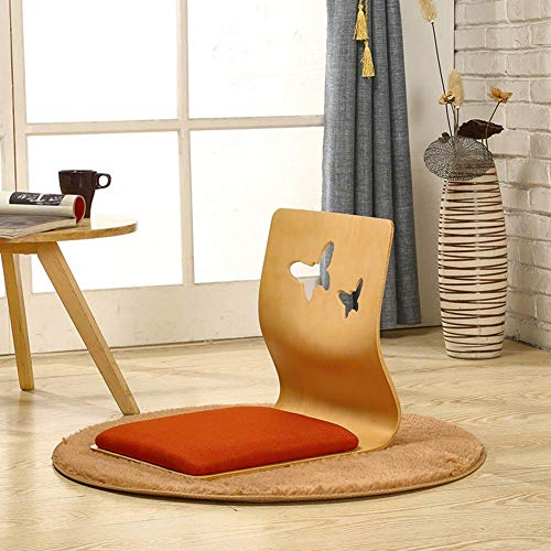 YLCJ Silla Japonesa de Madera Maciza para el Piso con Respaldo ergonómico Silla ergonómica sin piernas para Sala de Estar Ventana Tatami Gaming Reading-b 46x43x37cm (18x17x15inch)