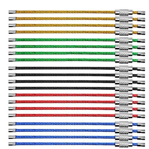 Laileya 20Pcs Stahldraht-Schlüsselanhänger Flexibles Kabel Seil 5 Farben, Anhänger, Schlüsselringe für hängendes Gepäck ID-Tag