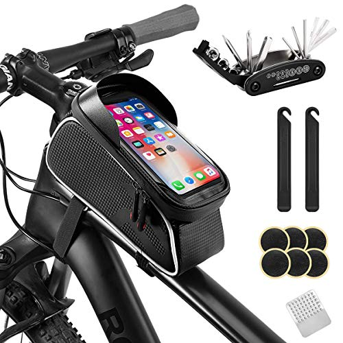 AGPTEK Bike Repair Tool Kits, 16 in 1 Multi-Function Bike Tools Kit Set with Bicycle Saddle Bag, Portable Tyre Tools Set Cycling Bag with Reflective Strip, TPU Touch Screen Supports Face ID