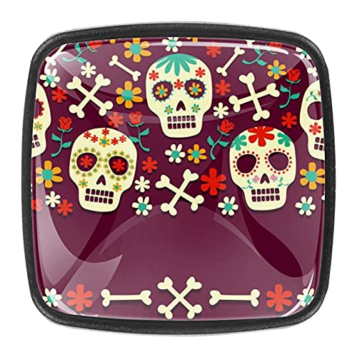 Day of The Dead IllustrationPerillas de cristal para cajones de cocina, armarios, estanterías, cajoneras, juego de 4