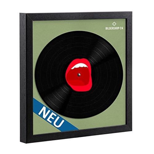 Schallplatten Rahmen Massivholz Schwarz lackiert in 34.5x34.5cm für Vinyl Schallplatten mit Befestigungsset für Schallplatte