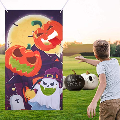 CLISPEED Halloween Toss Game Bean Bag Throwing Games Hanging Pumpkin Ghost Banner with 3 Bean Bags Indoor Outdoor Activities for Kids Adults Party Supplies Decoration