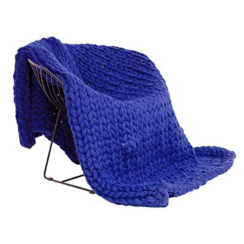 ZWDM Decke Gestrickte Grobe Strickdecke Wolle Garn Handgefertigt Haustier Bett Stuhl Sofa Super Große Arm Stricken Sperrig Decke Zuhause Dekor Geschenk (Color : Royal Blue, Size : 150x180cm)