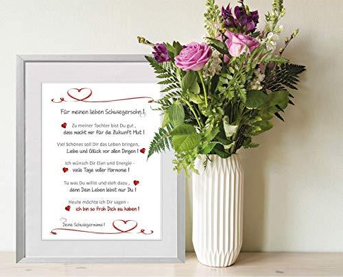 Für meinen lieben Schwiegersohn - personalisierbarer Kunstdruck als Geschenk für die Schwiegersohn - 24 x 30 cm mit Passepartout - ohne Rahmen - bester Schwiegersohn, Geschenk Schwiegersohn