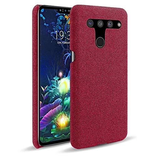 Capa LUSEHNG para LG V50 ThinQ 5G, capa para smartphone de lona de cor sólida para LG V50 ThinQ 5G, fina, duaable leve - vermelha