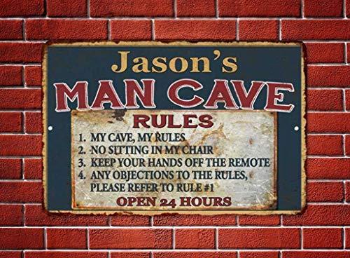 Cartel de metal vintage – Reglas de la cueva de los hombres – Decoración del hogar – Cartel rectangular de aluminio divertido arte de pared, fácil de montar, 9 pulgadas x 14 pulgadas