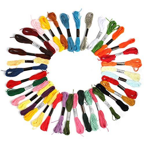 36 Fili da ricamo, Braccialetti dell\'amicizia, Filo da ricamo, Filetto intrecciato per fare la maglia (DIY --Fare-da-te), Progetto di artigianato, accessori da cucito & fornitura, 6 fili, 8,75 yard