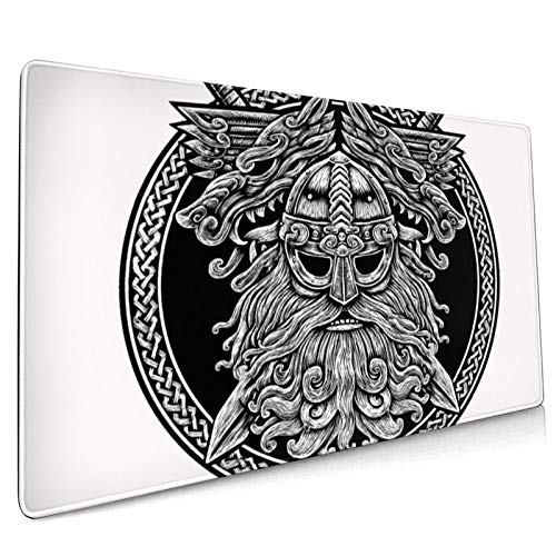 Circle Norse God Odin Wolf and Swords Graphic in The Ring Celtic Viking Warrior Tattoo 4060 Large Gaming Mouse Pad Nonslip Base Desktop Waterproof Pad Keyboard Mat(35.4inx15.7in)