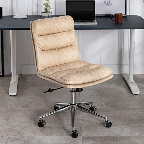Silla de oficina giratoria de piel con cojín grueso sin brazos, altura ajustable para oficina en casa, color crema
