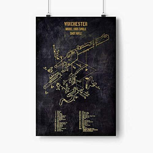 Zenladen Gun Winchester 1 Poster 12X18 Inch Unframed, Gun Game, Gun Safe, Top Gun Poster, Gun Wall Decor, Gift for Gun Lover, Birthday, Xmas, Home Décor, Dad, Son