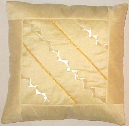 Coussin blanc couverture, en sari de soie indienne, cuit et décoration fait à la main, 40x40, conception Extravaganza Peacock, design agréable canapé-lit, fabriqués à partir de Cachemire et l'Inde.