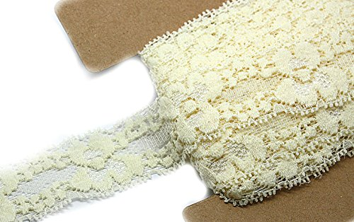 JLIKA Stretch Lace Elastic - 12 Yards - 1 Inch Wide - Trim Lace for Headbands Weddings (Ivory)