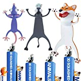 Funny Animal Bookmark for Boys, 3 Pack Cute Cartoon Animal Bookmark Bulk - Squashed Animals Stationery for Kids, Reading Presents, Party Favors