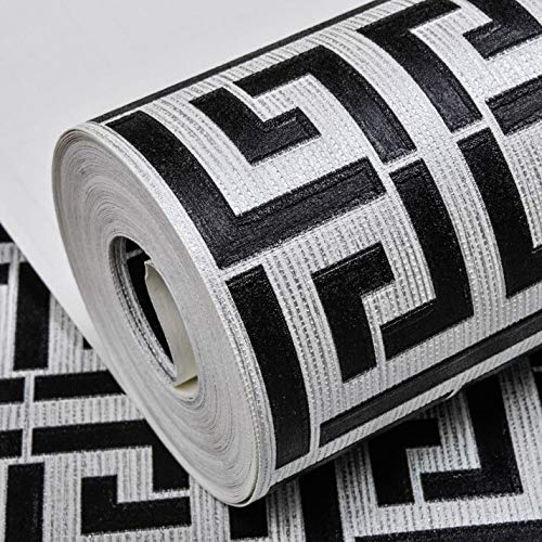 QXYOGO Tapeten White Gold Muster Weiß-Bilder Moderne geometrische Metallic-Vinylwand-Papier-Rolle Teal, Schwarz, Silber, Rose Gold 1 (Color : E00406 Black Silver, Dimensions : 10mx53cm)