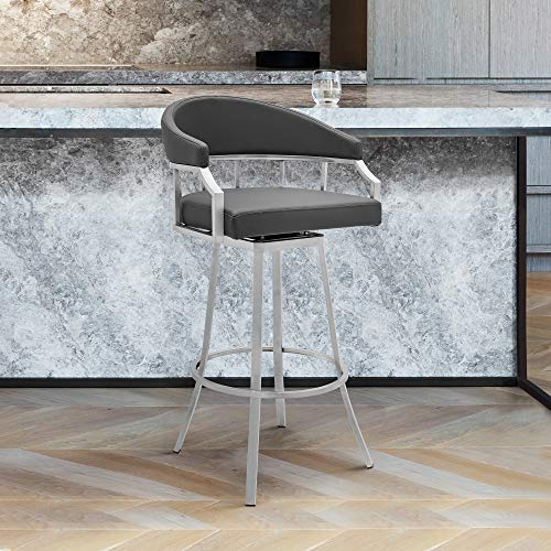 Armen Living Valerie Swivel Modern Faux Leather Bar and Counter Stool in Brushed Stainless Steel...