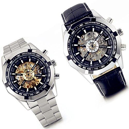 LANCARDO Reloj Comercial Mecánico Automático con Dial Hueco de Metal Juego de Pulsera Casual de Moda con Correa de Acero Inoxidable/Cuero para Viaje Negocios para Hombre – 2PCS