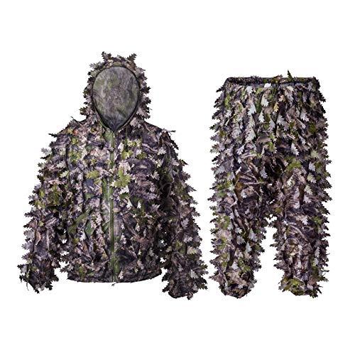 Roceek 3D Leafy Ghillie Anzug Camo Hooded Jagdanzug mit abnehmbarer Maske (Green Woodland, Large-X-Large)