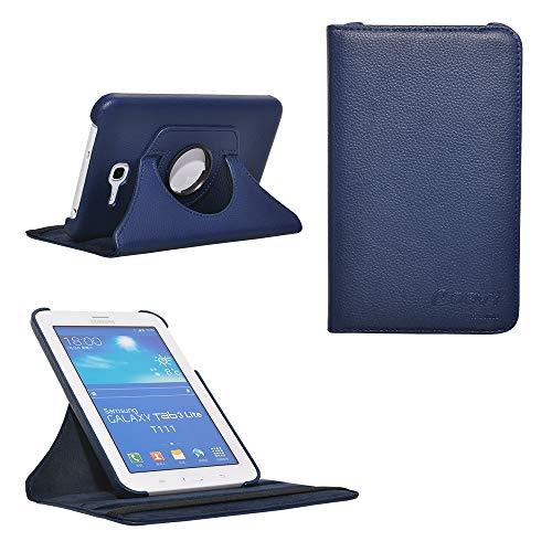 COOVY Funda para Samsung Galaxy Tab 3 Lite 7.0 SM-T110 SM-T111 Smart 360º Grados ROTACIÓN Cover Case Protectora Soporte | Color Azul Oscuro